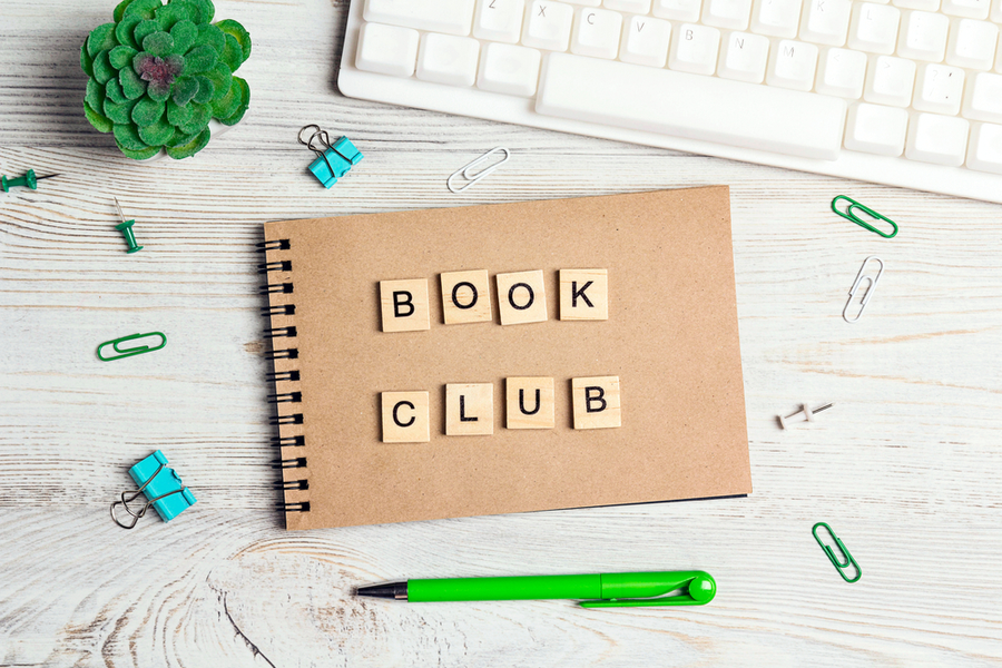 notebook cover with Scrabble letters spelling book club